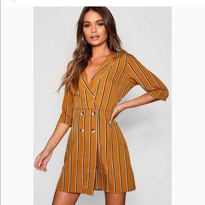 Boohoo tonal stripe hem button blazer shirt dress